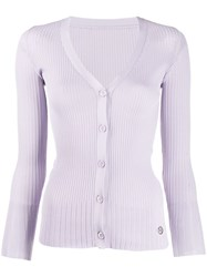 Emilio Pucci Ribbed Button Up Cardigan Purple