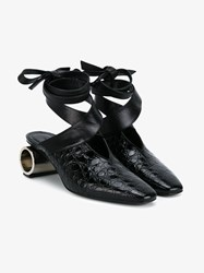 J.W.Anderson Stamped Leather Shoes With Hollow Heel Black Silver Grey