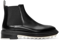 Lanvin Black And White Leather Chelsea Boots