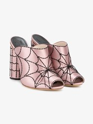 Marco De Vincenzo Spider Web Mules Pink And Purple
