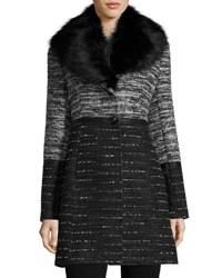 Catherine Malandrino Wool Blend Coat With Removable Faux Fur Collar Black Whit