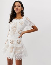 Forever Unique Embroidered Skater Dress White