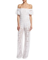 Miguelina Brisa Off The Shoulder Lace Jumpsuit Coverup Women's Size Small Pure White