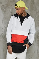 Forever 21 Hooded Colorblock Windbreaker White Red
