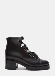 Valentino Leather Laced Ankle Boots Black