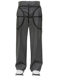 Givenchy Wide Leg Wool Flannel Trousers Grey