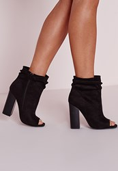 Missguided Ruched Detail Peep Toe Ankle Boots Black Black