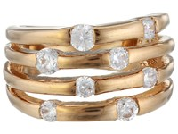 Guess 4 Band Stone Ring Rose Gold Ring
