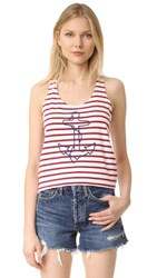 Sundry Anchor Tank Top Red White