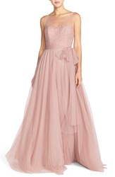 Women's Watters 'Lisa' Illusion Yoke Lace And Bobbinet A Line Gown