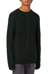 Topman Men's Cable Knit Crewneck Sweater Green