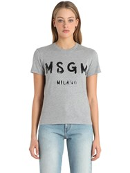 Msgm Logo Cotton Jersey T Shirt