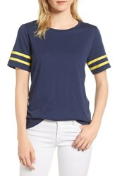 Gibson Stripe Sleeve Cotton Blend Athletic Tee Navy With Yellow
