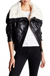 Guess Faux Shearling Collar Faux Leather Moto Jacket Black