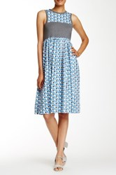 Orla Kiely Poppy Cat Gathered Dress Blue