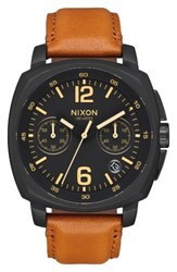 Nixon Men's Charger Chronograph Leather Strap Watch 42Mm Light Brown Black
