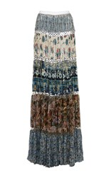 Roberto Cavalli Pleated Printed Maxi Skirt