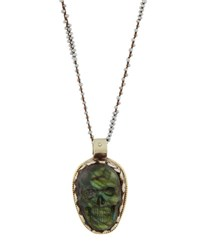 Native Gem Jewelry Bright Eyes Long Labradorite Skull Pendant Necklace Gray