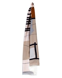 Jaeger Silk Abstract Block Scarf Ivory