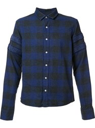 Mostly Heard Rarely Seen Sleeve Detailing Plaid Shirt Blue