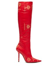 Vetements Passport Print Knee High Leather Boots Red
