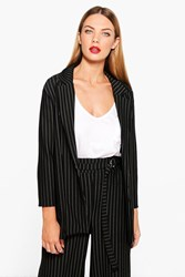 Boohoo Molly Pinstripe Tailored Blazer Black