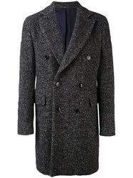 Massimo Piombo Mp Herringbone Double Breasted Coat Men Nylon Mohair Wool Alpaca 54 Grey