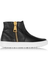 Alberto Moretti Leather High Top Sneakers Black