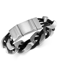 Macy's Men's Linked Bracelet In Leather And Stainless Steel
