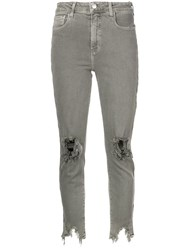 L'agence Distressed Effect Jeans Green