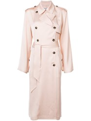 Elizabeth And James Double Breasted Duster Coat Women Viscose M Nude Neutrals