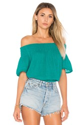 Michael Stars Smocked Off The Shoulder Top Green