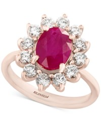 Effy Amore By Certified Ruby 1 9 10 Ct. T.W. And Diamond 9 10 Ct. T.W. Ring In 14K Rose Gold