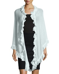 Neiman Marcus Cotton Ruffle Trim Shawl White
