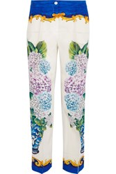Dolce And Gabbana Printed Silk Crepe De Chine Straight Leg Pants Blue