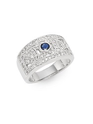 Effy Final Call Diamond Sapphire And 14K White Gold Cutout Ring