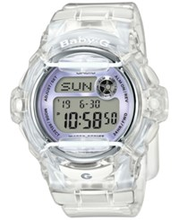 Baby G Women's Digital Clear Resin Strap Watch 45X42mm Bg169r 7E White