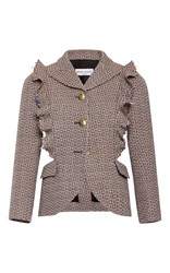 Sonia Rykiel Tweed Ruffled Open Jacket Dark Grey
