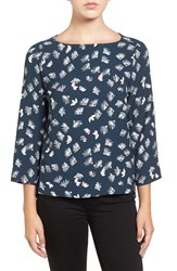 Halogenr Women's Halogen Printed Boatneck Blouse Navy Red Vanishing Floral