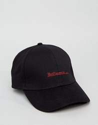 Asos Baseball Cap In Black With Influence Embroidery Black