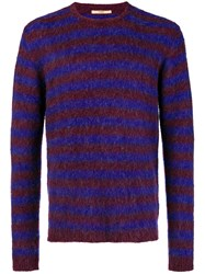 Nuur Striped Fuzzy Sweater Pink And Purple