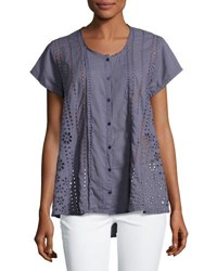 Johnny Was Eyelet Short Sleeve Blouse Blue
