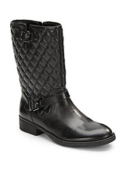 Saks Fifth Avenue Black Ani Quilted Leather Boot Black