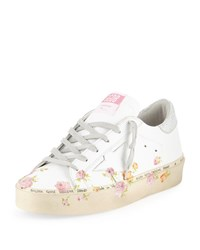 Golden Goose Hi Star Floral Print Leather Platform Sneakers White Pink