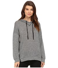 Brigitte Bailey Stripe Drawstring Hoodie Heather Grey Black Women's Sweatshirt Gray