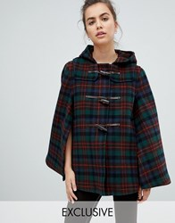 Gloverall Exclusive Cape Duffle In Plaid Navy