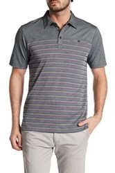 Travis Mathew Cutback Striped Polo Shirt Gray