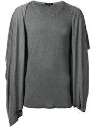 Unconditional Hooded Draped T Shirt Grey
