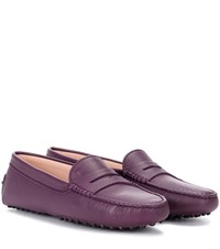 Tod's Gommino Leather Loafers Purple
