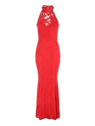 Jane Norman Racer Neck Maxi Dress Red